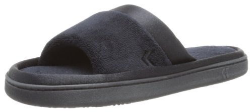 isotoner Women's Microterry Slide Slipper with Satin Trim, Black, 7.5/8