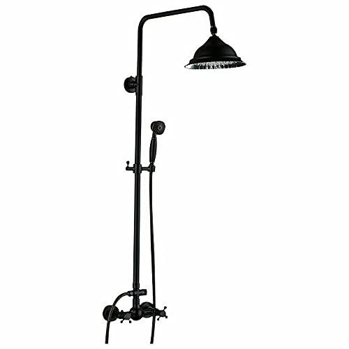 Juego de ducha retro efecto lluvia, montaje en pared, juego de grifería con alcachofa de mano, sistema de ducha, color negro
