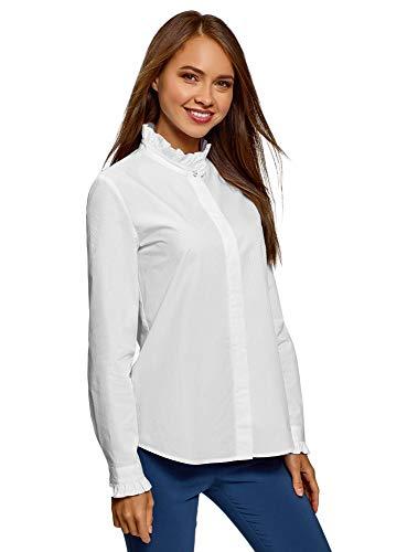 oodji Ultra Mujer Camisa con Volantes en el Cuello, Blanco, ES 36 / XS