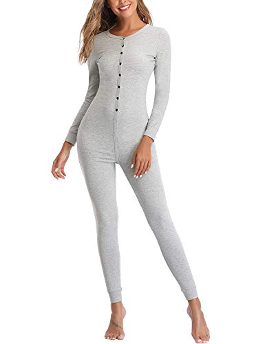 Lusofie Womens Cotton Thermals Adult Onesie Henley Thermal Underwear Union Suit (Light Gray, L)