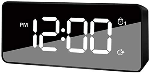 DFGBXCAW Radio Reloj Despertador Digital con Puerto de Carga USB Luz Nocturna Atenuador Manual automático Snooze Sleep Timer para Dormitorio, Oficina, Blanco