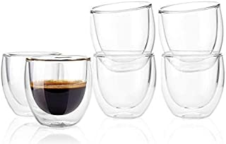 MJH Double Wall Glasses cups Insulated Double layer for Espresso Turkish Coffee Tea, Set of 6 pcs