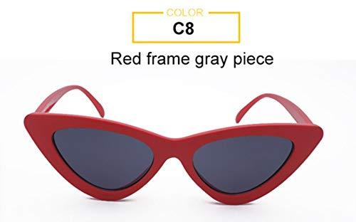 XCVB Dames Zonnebril Sexy Zwart Rood Spiegel zonnebril Dames Retro cateye zonnebril, Rood Grijs