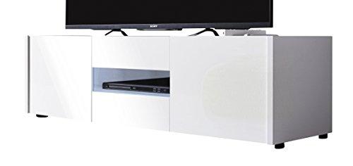 trendteam IM31801 TV Möbel Lowboard weiss Hochglanz lackiert, BxHxT 130 x 37 x 39 cm