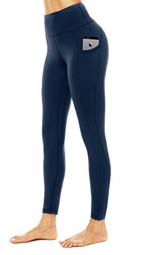 JOYSPELS Leggings Damen High Waist, Lange Sporthose damen mit Taschen,Blickdicht Sport leggings, Blau, L