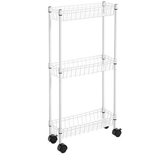 SONGMICS Nischenregal mit 3 Ebenen, 40 x 15 x 80 cm, Rollwagen, Lagerregal mit Rollen, für kleine und begrenzte Räume, Küche, Waschküche, weiß LGR203W01