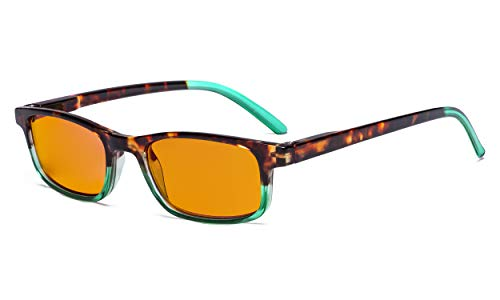 Eyekepper blauw licht blokkerende glazen, anti-oog-stress hoofdpijn, voor vrouwen, betere slaapleesbril, gele getinte lens Ohne Stärke Grün Rahmen-bb98 Linse