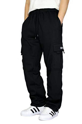 DREAM USA Men's Heavyweight Fleece Cargo Sweatpants, Black, Black, Size X-Large