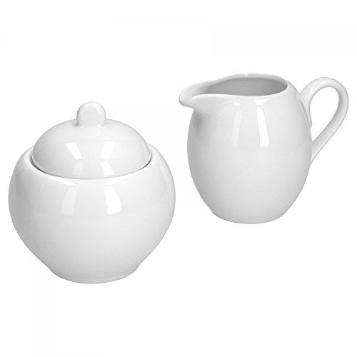 Van Well Trend 2tlg. Set Milchkännchen und Zuckerdose Porzellan Geschirr weiß