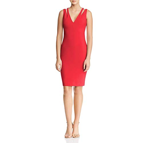 LIKELY Womens Cruz V-Neck Cut-Out Cocktail Dress Red 0