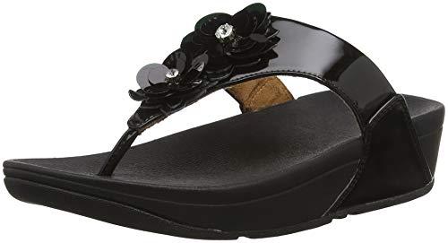 FitFlop Women's, Lulu Flower Thong Sandal Black 11 M