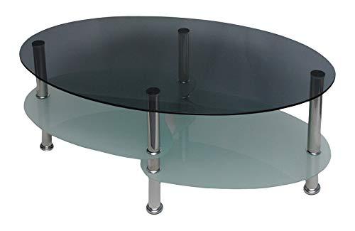 ts-ideen Glastisch Couchtisch Wohnzimmer Oval + 8 mm ESG Sicherheitsglas Rauchglas