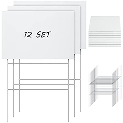 Jetec 24 Pieces Blank Yard Signs with H-Stakes 12 x 8 Inches White Plastic Blank Yard Sign Blank Plastic Garden Lawn Signs Board for Party Decorations Open House Birthday Decorations