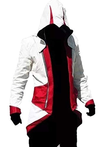 Assassin's Creed Cosplay Connor Jacket Costume (Male L, White and red)