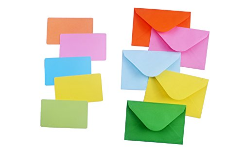 """Color Envelope 50 Pcs with Color Card 50 Pcs, Suitable for Gift Boxes, Packaging, Birthday Parties, Weddings, Etc.(4.4""""3"""