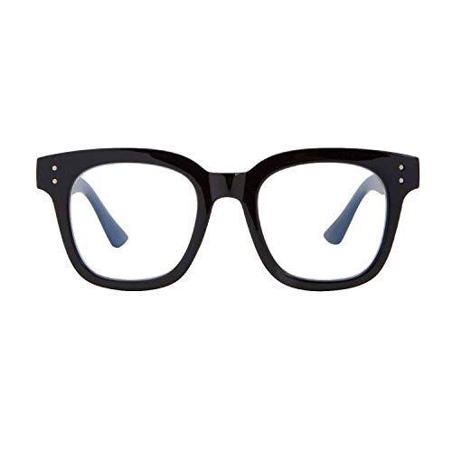 Madison Avenue Blue Light Blocking Glasses Oversized Fashion Blue Light Glasses for Women Anti Eyestrain & UV Protection Computer Eyeglasses (Black)