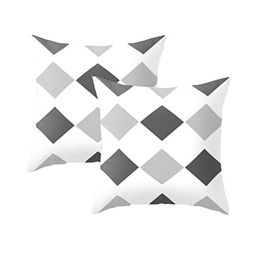 Speverdr 18'' x 18'' Geometric Throw Pillow Covers Set of 2 Decorative Cushion Covers for Sofa, Bed, Car (White & Grey)