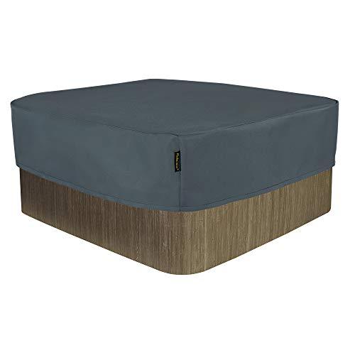 Hentex Cover Rechteckige Allwetter Garten Whirlpool Abdeckung, Schutz vor Wind UV schützende (Grau (220W*220D*25H cm)