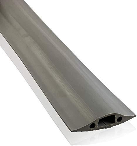 On1shelf® Mittelstarker Bodenschutz, schützt vor Stolperfallen | Kabelhohlraum 30 mm (B) x 10 mm (H) | Grau (5 m)