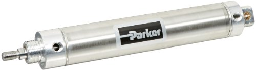 Parker 2.00DXPSR08.0 Stainless Steel Air Cylinder, Round Body, Double Acting, Pivot & Nose Mount w/o Pivot Pin, Non-cushioned, 2 inches Bore, 8 inches Stroke, 5/8 inches Rod OD, 1/4