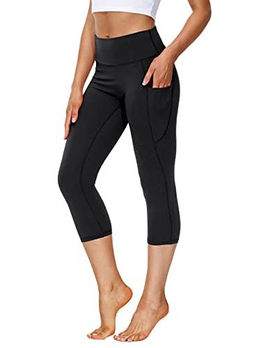 SPECIALMAGIC Capri Leggins Damen High Waist mit Taschen Yoga Hosen 3/4 Sporthose Laufhose Aktiv Jogginghose Schwarz L