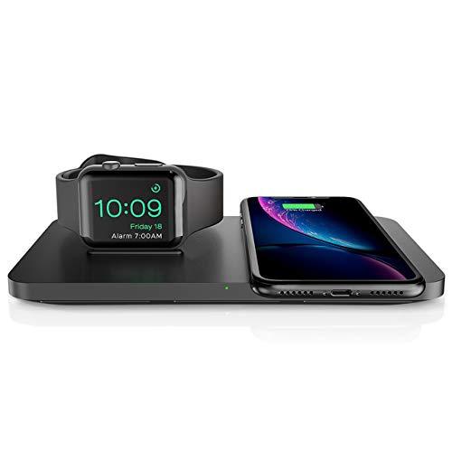 Seneo Dual Cargador Inalámbrico 2 en 1, 7.5W Carga Rápido para iPhone 11 Pro Max/11 Pro/11/XR/XS Max/Xs/X/8/8P y AirPods Nueva, con Carga Soporte de Apple Watch Series 5/4/3/2, Reloj Modo