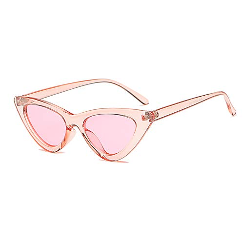 YOSHYA Retro Vintage Narrow Cat Eye Sunglasses for Women Clout Goggles Plastic Frame (Clear Red / Red)