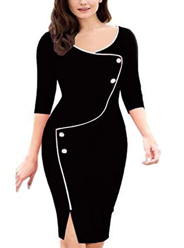Vestido Asimétrico Elegante con Manga Asimétrica Y Ropa Manga 3/4 para Mujer Vestido Ajustado De Negocios Vestido Ajustado hasta La Rodilla para Mujer (Negro,XL)