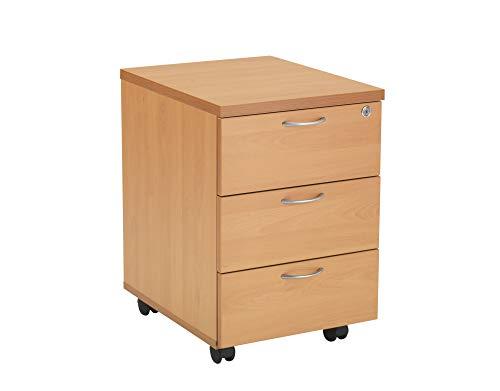 Office Hippo Heavy Duty 3 Drawer Mobile Pedestal, Wood, Beech