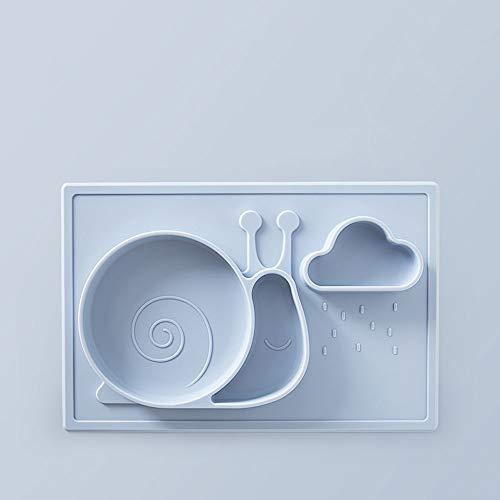 DEI QI Silicone Kids Plate Aspiration Bol pour bébé Nourrir la vaisselle de bébé Vaisselle gratuite Vaisselle pour les enfants Plats Mignon Animal Forme (Couleur : Snails - blue)