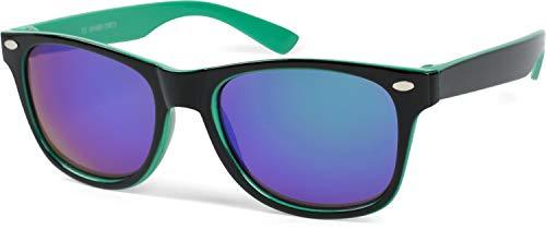 styleBREAKER Kinder Nerd Sonnenbrille mit Kunststoff Rahmen und Polycarbonat Gläsern, klassiches Retro Design 09020056, Farbe:Gestell Schwarz-Grün/Glas Grün verspiegelt