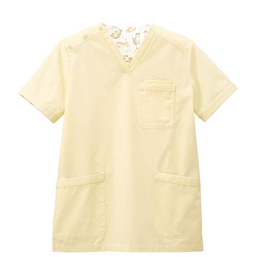 naosudou スクラブ (neko gorori) 柄あり 医療 ナース 看護 白衣 レディース M シトロンイエロー 9663212A
