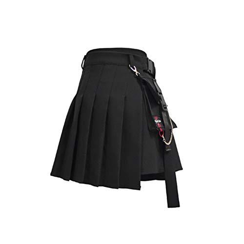DAHDXD Frauen Hohe Taille Shorts Röcke Mit Tasche Japan Harajuku Harte Mädchen Vintage Plaid Unregelmäßige Falten Mini Rock