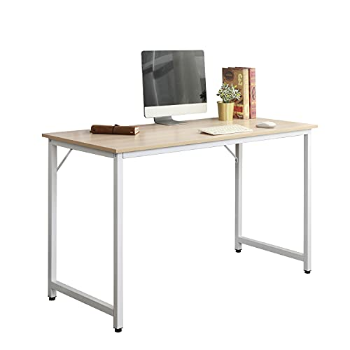 sogesfurniture Computer Desk Office Workstation Desk Study Writing Desk PC Laptop Table Simple Table for Home Office, 100x50x75cm, White Maple WK-JJ100-MO-BH