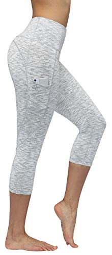 FUNANI High Waist Yoga Pants with Pockets, Yoga Pants for Women Running Workout Yoga Leggings with Pockets (Capri-Spaced Dyed White Grey, Large)