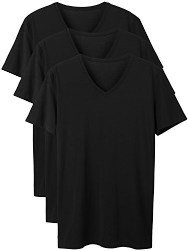 David Archy Men's 3 Pack Micro Modal Underwear Soft Comfy V-Neck Undershirts (S, Black)