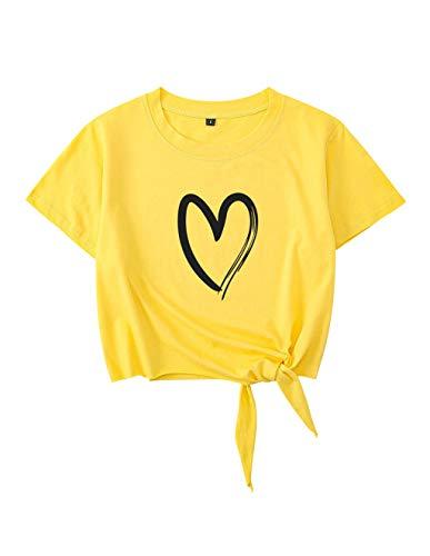 Crop Tops Damen Sommer, Teenager Mädchen Mode Love Heart Druck Tie Up Bauchfrei Oberteile Bandage Casual Sport Blusen Shirt Hemd Kurzes Tank Top Frauen Kurzarm T-Shirt Pullover Sale (A-Gelb,L)