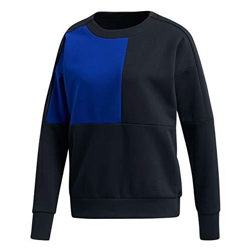 adidas Damen ID Glory Crew Langarm Sweatshirt, Black/Mystery Ink, S