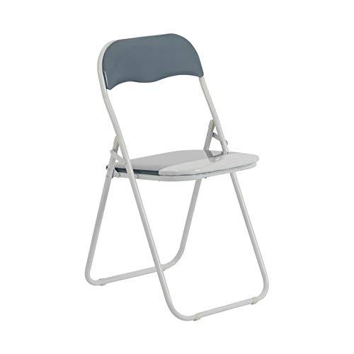 Chaise pliante rembourrée - pour le bureau - gris clair/blanc