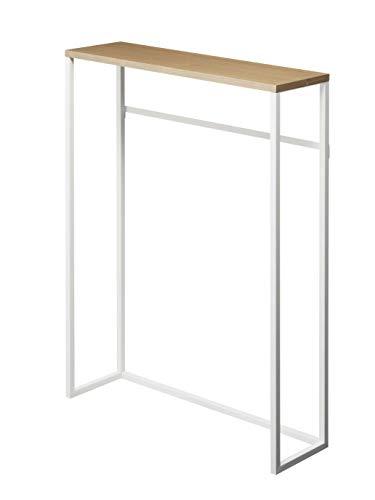 山崎実業(Yamazaki) コンソールテーブル ホワイト 約W60XD18.5XH80.5cm タワー 置きやすくスリム 飾り棚 フック付き サイドテーブル 5164
