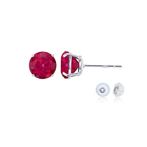 Genuine 14K Solid White Gold 6mm Round Created Ruby July Birthstone Stud Earrings
