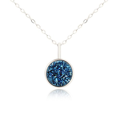 KristLand - S925 Plata Collar com Piedra Natural Druzy Roca Arco Iris Pequeña Delicada Gargantilla Azul