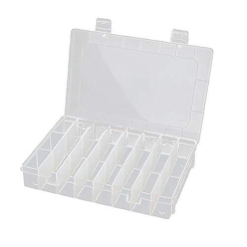 Odoukey 20 * 13,8 * 3.8cm Transparente Plastikaufbewahrungsbehälter, bewegliche Aufbewahrungsbehälter mit Trennwänden, der benötigt Wird um Classify Ohrringe, Ring Perlen und Schmuck (24 Grids)