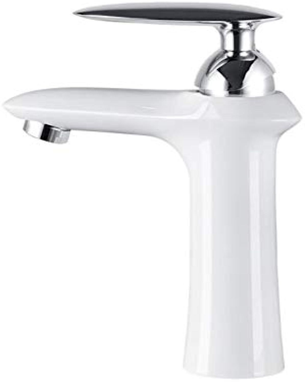 Malen Sie weien Waschbeckenhahn heies und kaltes Wasser Badezimmerwaschbeckeneinhandgriff-Doppellochbassinhahn