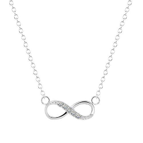 Collana da donna in argento con ciondolo a forma di infinito con otto cristalli, regalo di compleanno e Argento, colore: Argento, cod. ZB