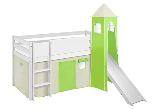 Lilokids Spielbett JELLE Grün Beige - Hochbett weiß - mit Turm, Rutsche und Vorhang