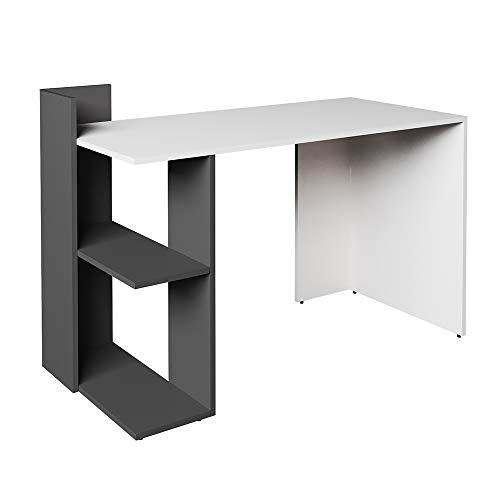 Vicco Schreibtisch Theo 120 x 73 cm Weiß/Eiche Sonoma/Anthrazit - Schreibtisch Arbeitstisch Bürotisch