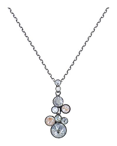 Konplott Water Cascade Kette mit Anhänger Designer Mode-Schmuck mit Swarovski Elements | Halskette mit Glitzer-Steinen für Damen in Weiss | Schönes Geschenk