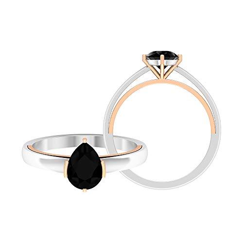 Rosec Jewels - Anillo de diamante negro en forma de pera de 6 x 8 mm, 1 CT creado en laboratorio, anillo solitario de diamante negro, 14K Oro rosa, Size:EU 48