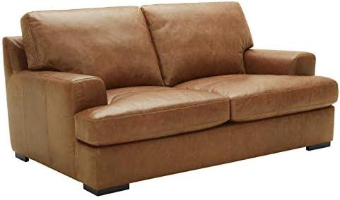 Best Amazon Brand – Stone & Beam Lauren Down-Filled Oversized Leather Loveseat with Hardwood Frame, 74